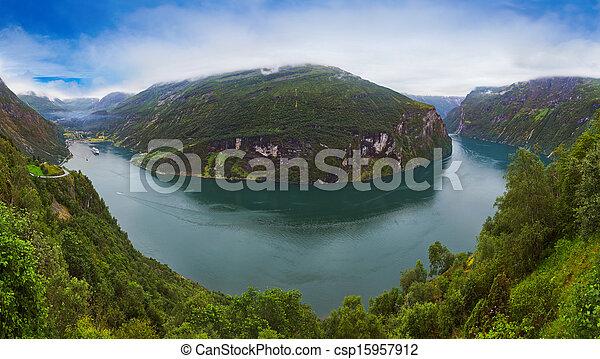 Panorama of Geiranger fjord - Norway - csp15957912