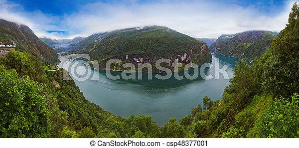 Panorama of Geiranger fjord - Norway - csp48377001
