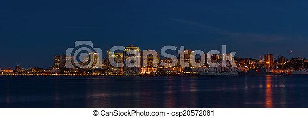 Panorama of Halifax Nova Scotia at night - csp20572081