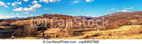 panorama of hills in the spring time - csp69597968
