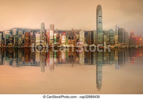 Panorama of Hong Kong and Financial district - csp32889439