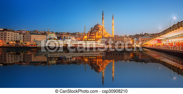 Panorama of Istanbul at a dramatic sunset - csp30908210