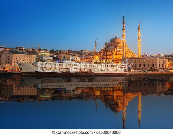 Panorama of Istanbul at a dramatic sunset - csp30848886