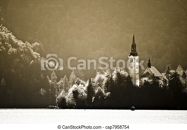 Panorama of Lake Bled in autumn. - csp7958754