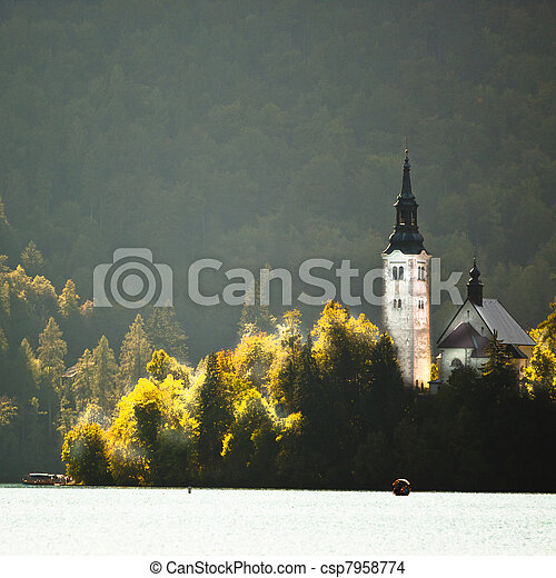 Panorama of Lake Bled in autumn. - csp7958774