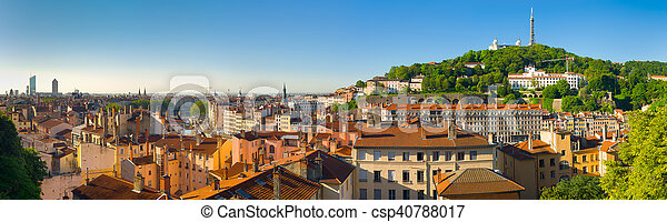 Panorama of Lyon in a summer day - csp40788017