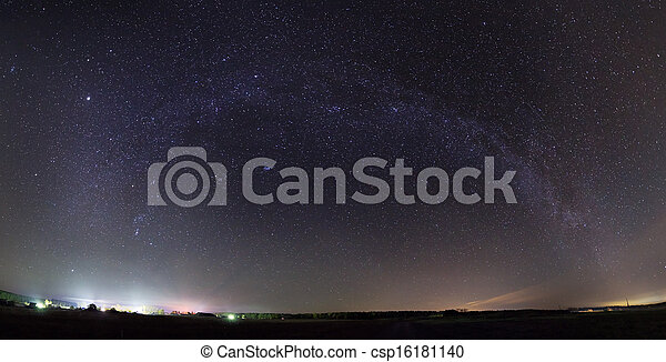 Panorama of Milky Way over the field - csp16181140