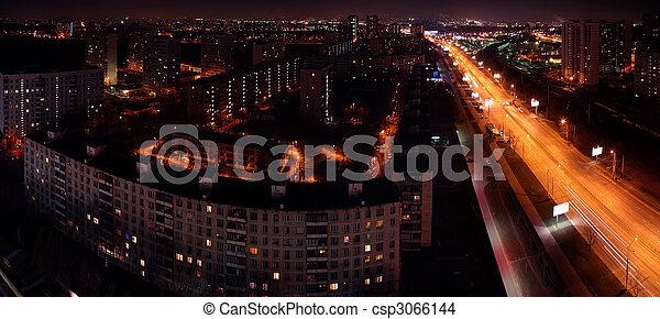 Panorama of night city - csp3066144