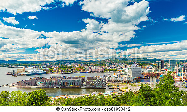 Panorama of Oslo, Norway. Beautiful cityscape of a Scandinavian city on sunny summer day - csp81933442