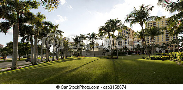 Panorama of Park in West Palm Beach - csp3158674