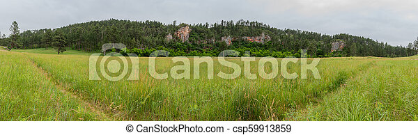 Panorama of Prairie Trail Through Wide Canyon - csp59913859