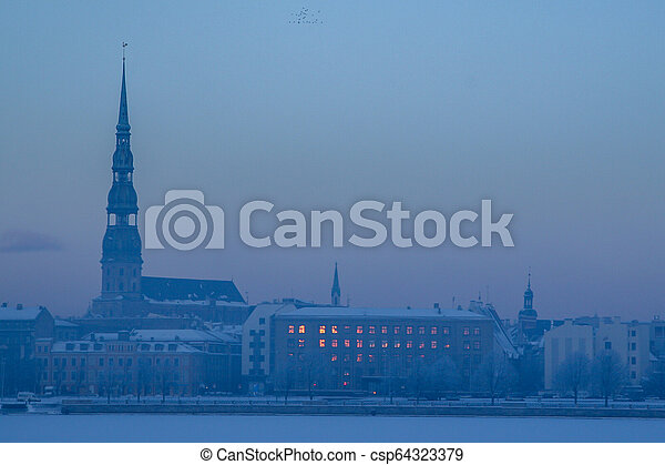 Panorama of Riga in winter time. - csp64323379