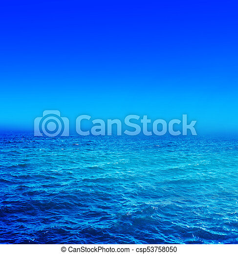 Panorama of sea waves. Landscape view of aqua blue sea and blue sky and with sunny reflections - csp53758050