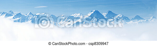 Panorama of Snow Mountain Landscape Alps - csp8309947
