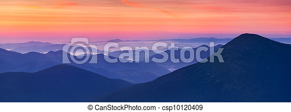 panorama of sunrise in the mountains - csp10120409