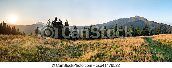 Panorama of sunset in the mountains - csp41478522