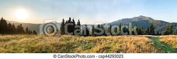 Panorama of sunset in the mountains - csp44293023