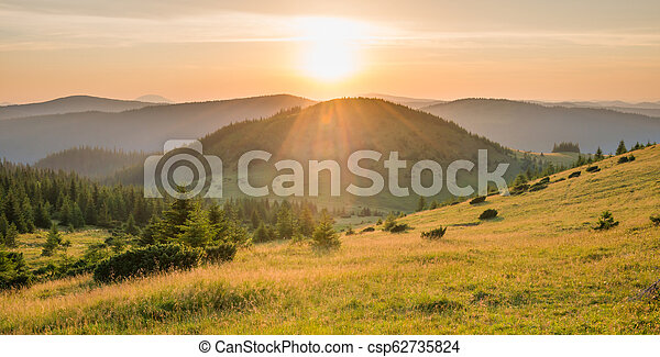 Panorama of sunset in the mountains - csp62735824