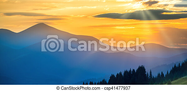 Panorama of sunset in the mountains - csp41477937