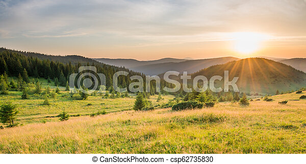 Panorama of sunset in the mountains - csp62735830