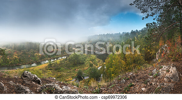 Panorama of the autumn landscape - csp69972306
