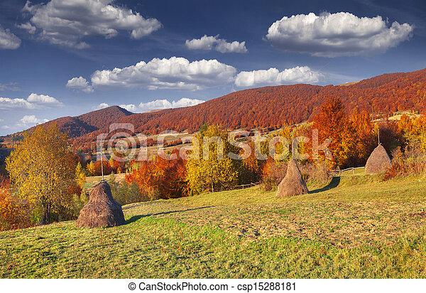 Panorama of the autumn mountains. - csp15288181