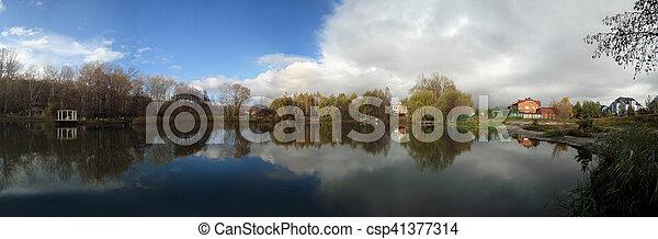 Panorama of the beautifull autumn lake - csp41377314