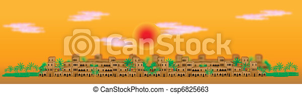 Panorama of the big arabic city at sunset - csp6825663
