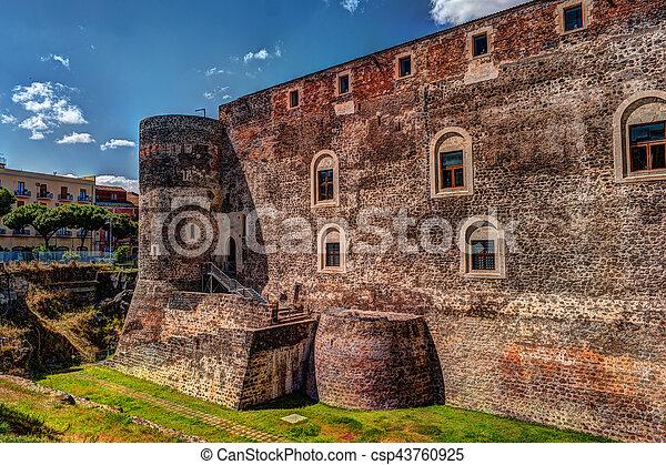 Panorama of the Castello Ursino - csp43760925