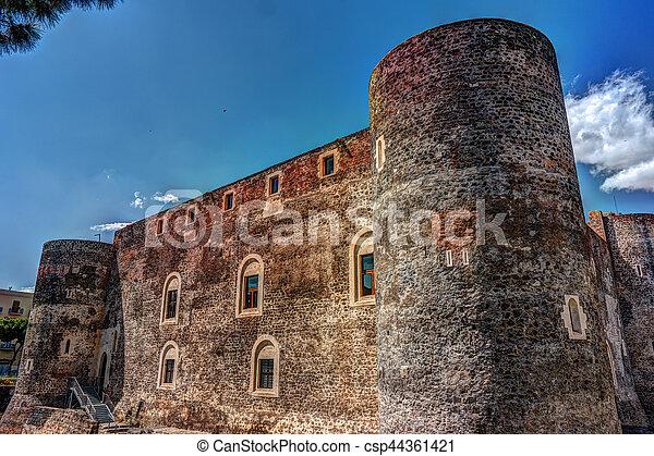 Panorama of the Castello Ursino - csp44361421