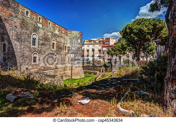 Panorama of the Castello Ursino - csp45343634