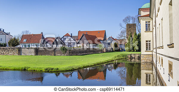 Panorama of the castle and Old Village in Westerholt - csp69114471