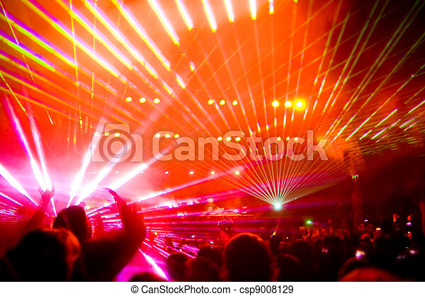 Panorama of the concert, laser show and music   - csp9008129