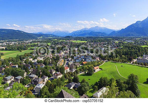 Panorama of the historic city of Salzburg - csp53705152