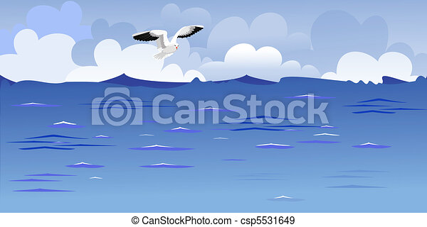 Panorama of the ocean with a soaring gull - csp5531649