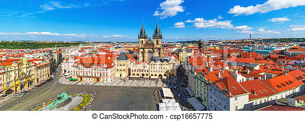 Panorama of the Old Town Square in Prague, Czech Republic - csp16657775
