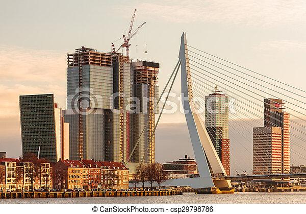 panorama of the rotterdam skyline. panorama of the river skyline of