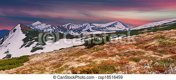 Panorama of the spring mountains at sunset - csp18516459