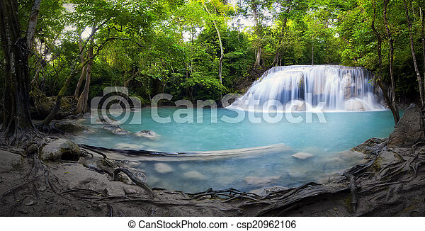 Panorama Of Tropical Forest Waterfall And Pond