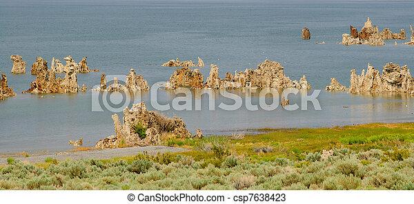panorama of tufas at mono lake - csp7638423