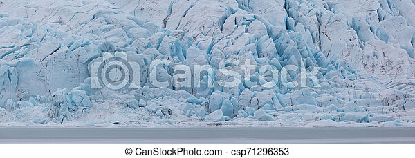 panorama of Vatnajokull glacier front in Iceland at Fjallsarlon - csp71296353