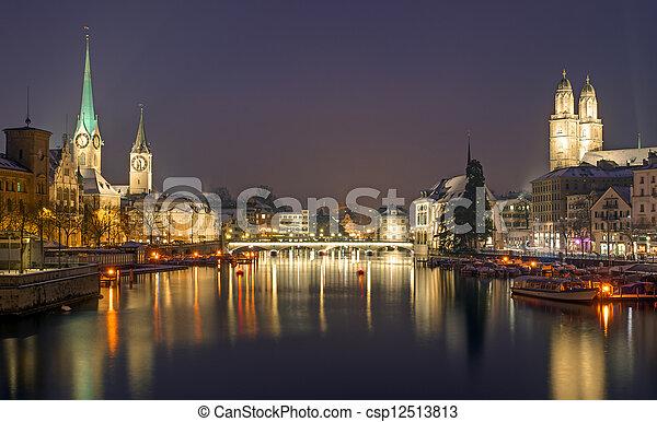 Panorama of Zurich at night - csp12513813
