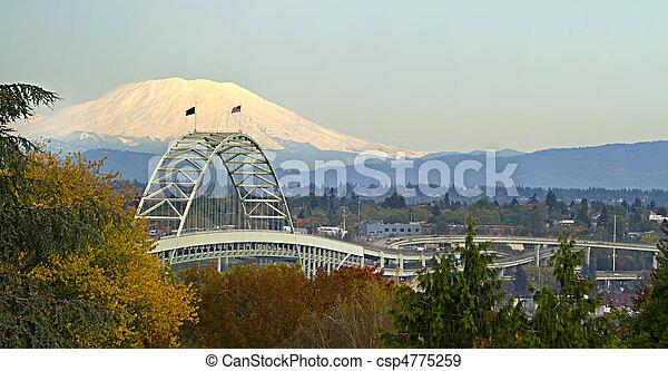 panorama, orégon, pont, fremont, portland - csp4775259