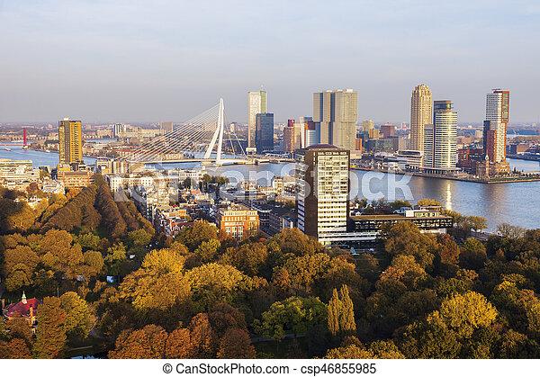 panorama, rotterdam, aérien. hollande, aérien, panorama, rotterdam