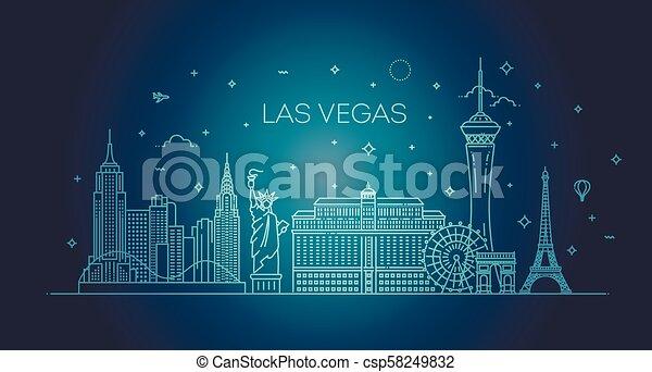 Las Vegas Skyline mit Panorama in weißem Hintergrund - csp58249832