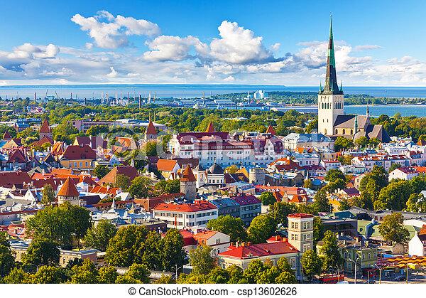 panorama, tallinn, aéreo, estónia - csp13602626