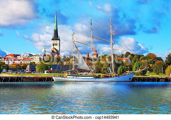 panorama, tallinn, estónia - csp14493941