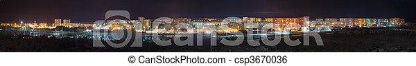 Panorama - view night city - csp3670036