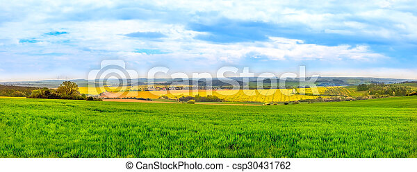 Panorama view of green fields - csp30431762