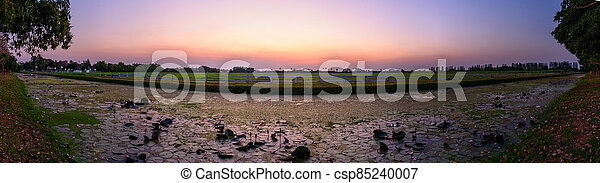 Panorama view of sunset at the lake - csp85240007